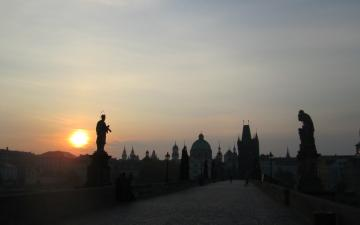 Charles bridge at the sunrise